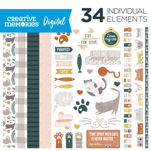 Creative Memories Cattitude cat digital scrapbooking kit - D657291
