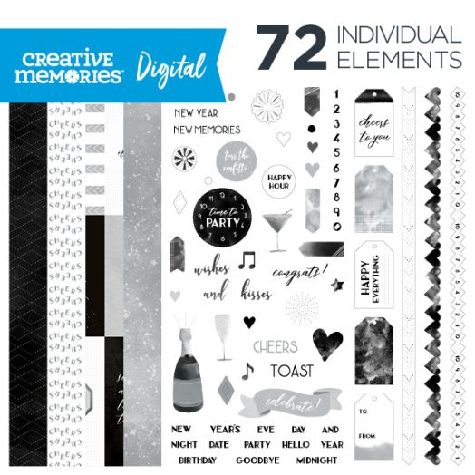 Creative Memories Cheers digital scrapbooking new year's kit - D657323