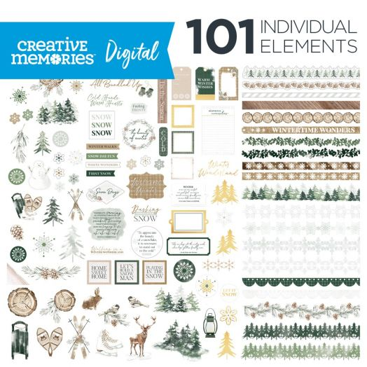 Creative Memories winter digital scrapbooking elements - Winter Woods