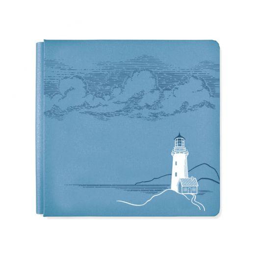Creative Memories 12x12 blue nautical scrapbook with a foiled lighthouse design - 657145