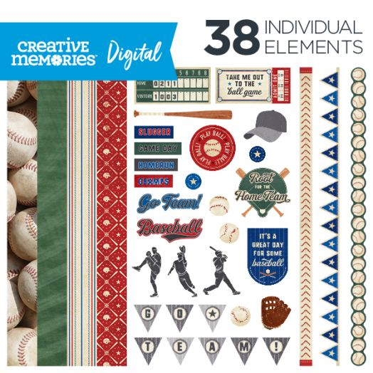 Creative Memories Grand Slam baseball digital scrapbooking kit - D657287