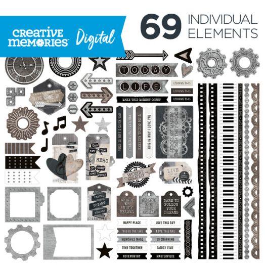 Creative Memories Memoirs & Memories vintage digital artwork elements