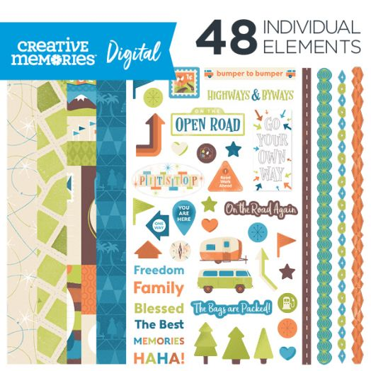 Creative Memories Open Road travel digital scrapbook kit - D657315