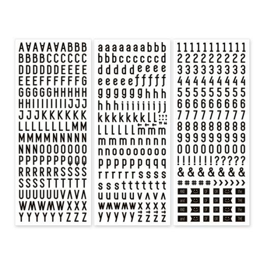 Black Sans Serif ABC/123 Letter Stickers (3/pk)