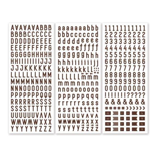 Brown Sans Serif ABC/123 Letter Stickers (3/pk)