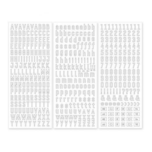 White Sans Serif ABC/123 Letter Stickers (3/pk)