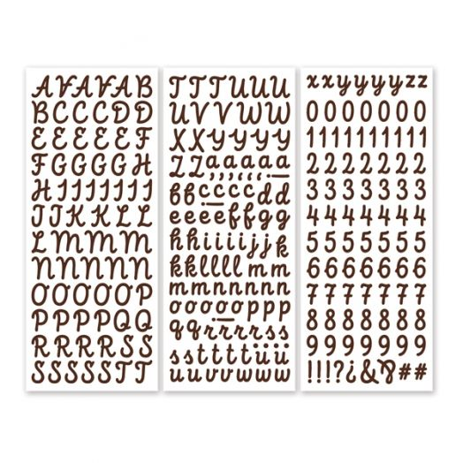 Brown Script ABC/123 Letter Stickers (3/pk)