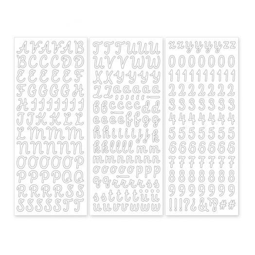 White Script ABC/123 Letter Stickers (3/pk)