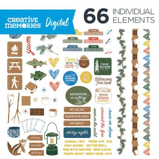 Creative Memories Smore Memories camping themed digital elements