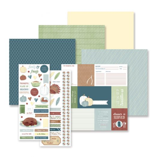 Creative Memories Thanksgiving scrapbook kit - ThankFULL - includes scrapbook paper, scrapbook stickers & cardstock - 657451