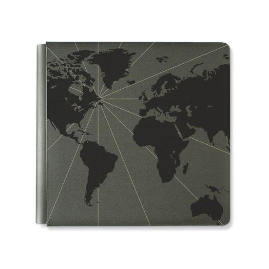 Creative Memories 12x12 black travel photo album with a foiled world map design - 657034