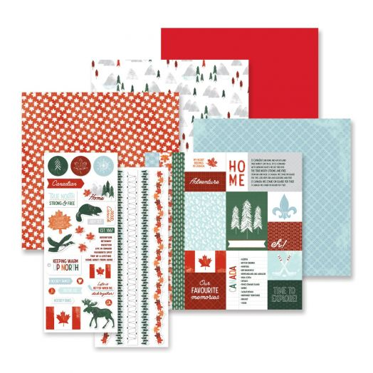 Creative Memories True North Canada themed scrapbook kit, including Canada stickers and Canada papers