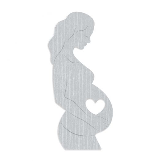 Welcome Baby pregnancy scrapbook embellishments for layouts or a pregnancy journal - die cut of pregnant woman with a heart cutout on the belly to show an ultrasound photo underneath