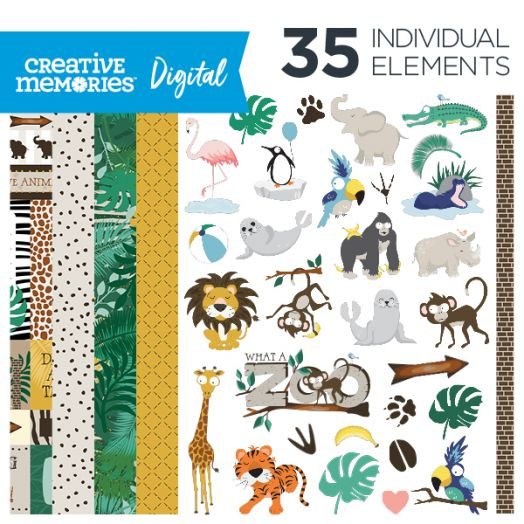 Creative Memories What A Zoo digital scrapbooking kit - D657307