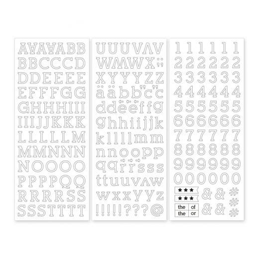 White Serif ABC/123 Letter Stickers (3/pk)