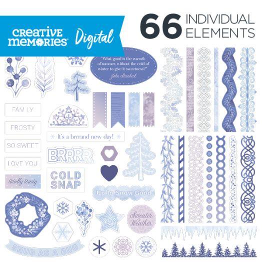 Creative Memories Winterberry Winter Digital Scrapbooking Elements - D657519